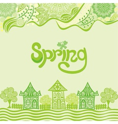 Spring nature pattern background houses vector