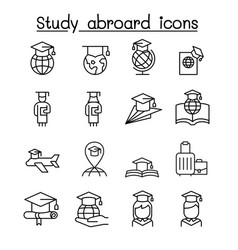 Study abroad graduation icon set in thin line vector