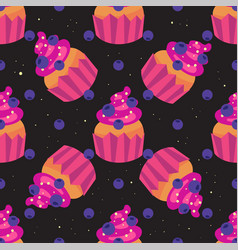 Sweet seamless pattern with cupcakes on a black vector