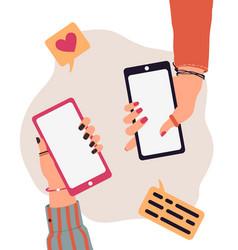 trendy cartoon people hands using smartphones vector image