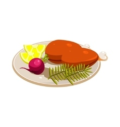 Turkey Ham with Vegetables and Apples on a Dish vector