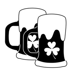 two beer glass clover drink alcohol vector image
