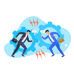 two businessmen displaying a conflict interests vector image
