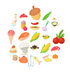 vegetarian icons set cartoon style vector image