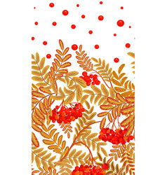 Vertical seamless background with red berries and vector
