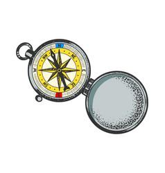 Vintage compass sketch vector