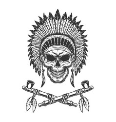 Vintage native american indian chief skull vector