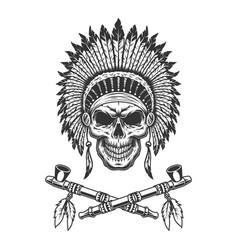 Vintage native american indian chief skull vector