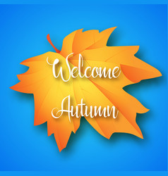 welcome autumn lettering on maple leaf and blue vector image