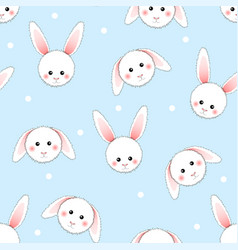 White rabbit on light blue background vector