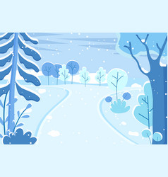 winter landscape ski resort path in forest vector image