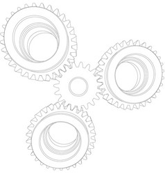Wire-frame reducer consisting of gears vector