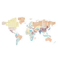 World map made of typographic country names vector