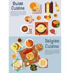 Worldwide popular dishes of swiss belgian cuisine vector image