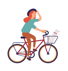 Young woman dressed in casual clothes riding bike vector