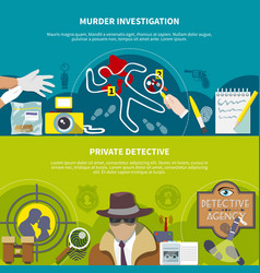 detective colored banner set vector image