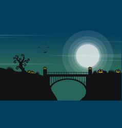 halloween with bridge and moon landscape vector image vector image