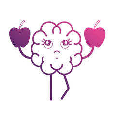 line kawaii brain with apples fruit vector image vector image