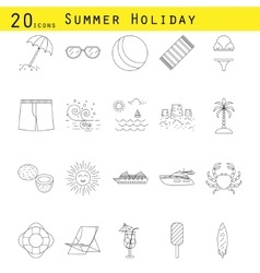 Summer holiday thin line icon set vector image