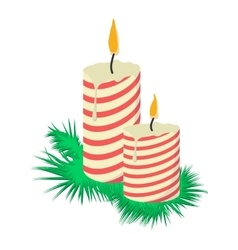 Cartoon candles on tree branch vector image