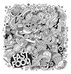 Cartoon cute doodles hand drawn Fastfood vector image