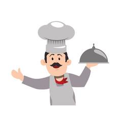 chef mustache hat vector image