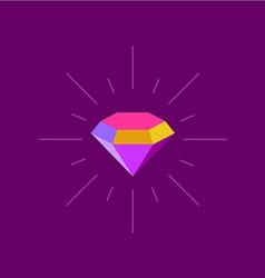 Colorful diamond logo template Rays burst around vector image