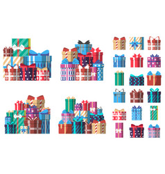 colorful gift box set in flat design vector image