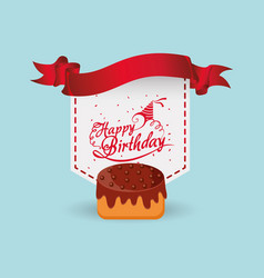 happy birthday cake ribbon label vector image