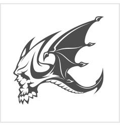 Isolated fantasy black dragon and skull for tattoo vector image vector image