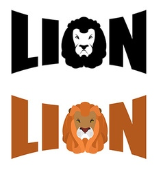 Lion logo Wild hairy beast and letters Text and vector image