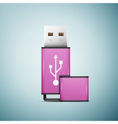 Pink usb flash drive icon isolated on blue vector