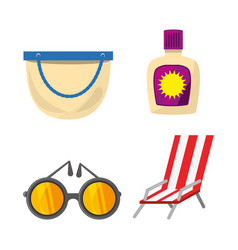 set summer icon over white background vector image