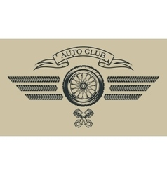 Auto emblem in vintage style vector image vector image