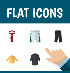Flat icon dress set of trunks cloth uniform vector