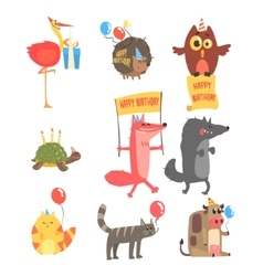 Funky Animals With Party Attributes At The Kids vector image