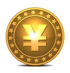 Gold coin with yen sign vector image