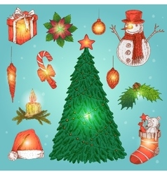 Hand Drawn Christmas Decorations Set vector image vector image