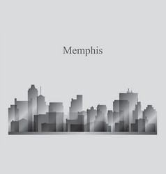 memphis city skyline silhouette in grayscale vector image vector image
