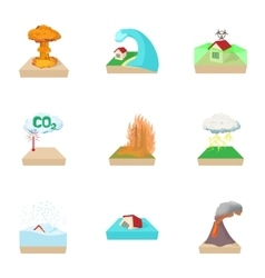 Natural cataclysm icons set cartoon style vector image vector image