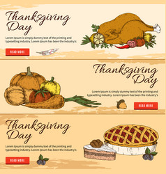 thanksgiving day horizontal hand drawn banners vector image vector image