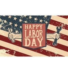 Happy labor day poster template Flag of USA on vector image