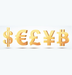 set of gold currency symbols vector image