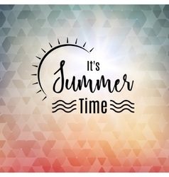 Summer time polygonal background with sun Travel vector image vector image