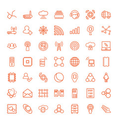 49 network icons vector image