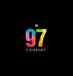 97 number grunge color rainbow numeral digit logo vector image
