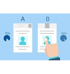 A-B comparison Split testing Concept computer vector image