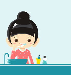 A girl brushing teeth vector image