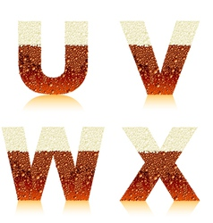 alphabet dark beer uvwx vector image