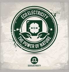 alternative eco electricity stamp vector image